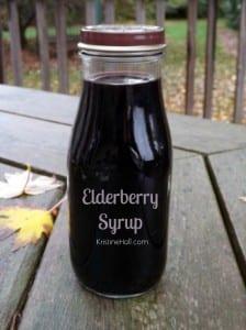 elderberry syrup in upcycled Starbucksbottle